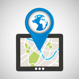 Mobile device globe gps map Royalty Free Stock Image