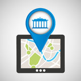 Mobile device gps map Royalty Free Stock Image