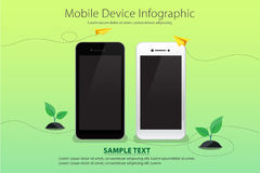 Mobile and Device on Green Color Background with Yellow Paper Plane and Young Plant Stock Images