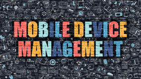Mobile Device Management in Multicolor. Doodle Design. Stock Images