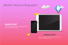 Mobile and Device on Pink Sky Color Background with Paper Plane, Clouds and Balloons Stock Photos