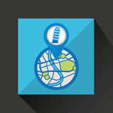 Mobile device pisa tower gps map Royalty Free Stock Image