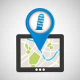 Mobile device pisa tower gps map Stock Photos