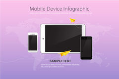 Mobile and Device on Purple Sky Color Background with Yellow Paper Plane Royalty Free Stock Photos