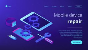 Mobile device repair concept isometric 3D landing page. stock photo