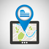 Mobile device rome gps map Royalty Free Stock Photos