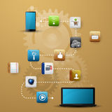 Mobile device with a set of flat icons Stock Photos
