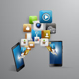 Mobile device with a set of flat icons Royalty Free Stock Image
