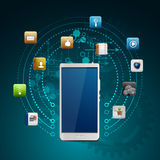 Mobile device with a set of flat icons Stock Photo