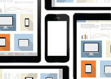 Mobile device , tablet and smart phone - communication technology Royalty Free Stock Photo