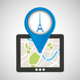 Mobile device tower eiffel france gps map Stock Photos