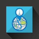Mobile device tower eiffel france gps map Stock Images