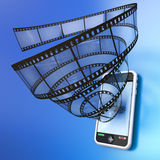 Mobile device video. Film into a mobile phone. Hi-res digitally generated image Stock Photography