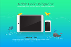 Mobile and Device on Water Background with Yellow Paper Plane and Whale, fish. This is graphics vector Illustration Info graphic. Ready to use for websites Stock Photo