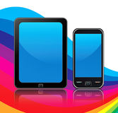 Mobile devices. Smartphone and tablet design with rainbow background and reflection vector illustration