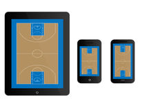 Mobile Devices Basketball Court Black Royalty Free Stock Images