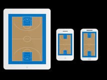 Mobile Devices Basketball Court White Stock Photo