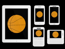 Mobile Devices Basketball White Royalty Free Stock Images