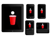Mobile Devices Beer Pong Black Stock Image