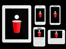 Mobile Devices Beer PongWhite Royalty Free Stock Photography