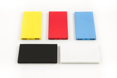 Mobile devices. Box squares. Small device electricity to recharge of smart phone Stock Photos