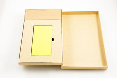 Mobile devices. Box squares. Yellow box squares. Small device electricity to recharge of smart phone Royalty Free Stock Photography