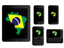 Mobile Devices Brazilian Map Black Royalty Free Stock Photos