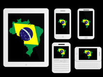 Mobile Devices Brazilian Map White Stock Photography