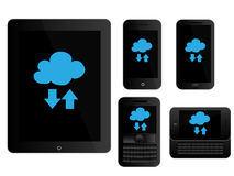 Mobile Devices Cloud Icons Black Stock Image