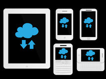 Mobile Devices Cloud Icons White Illustration Royalty Free Stock Photo