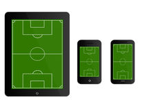 Mobile Devices Football Field Black Stock Image
