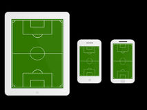 Mobile Devices Football Field White Stock Photos