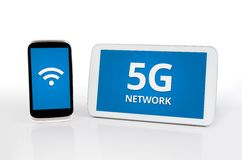 Mobile devices with 5G network standard. Communication stock image