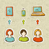 Mobile devices global connection in sketch style. Computer, tablet and mobile devices connect social network people over sketch icons pattern.  Vector Stock Photos