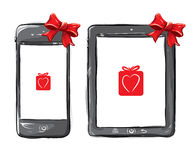 Mobile Devices. Hand Drawn Vector illustration Mobile Devices Stock Photos