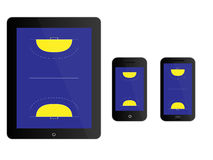 Mobile Devices Handball Court Black Royalty Free Stock Images