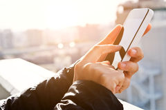 Mobile devices. Image of using smart phone background Stock Photo