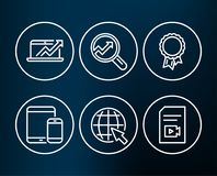 Mobile devices, Internet and Success icons. Analytics, Sales diagram and Video file signs. Set of Mobile devices, Internet and Success icons. Analytics, Sales Royalty Free Stock Image