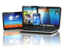 Mobile devices. Laptop, smartphone and tablet pc. Stock Photography