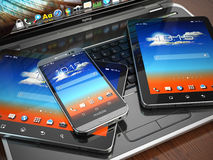 Mobile devices. Laptop, smartphone and tablet pc. Royalty Free Stock Images