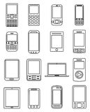 Mobile devices line icons set Stock Images