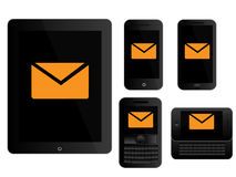 Mobile Devices Message Icons Black Royalty Free Stock Image