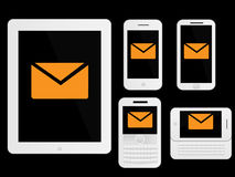 Mobile Devices Message Icons White Stock Photography