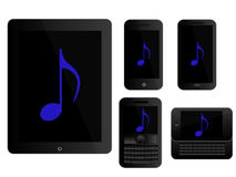 Mobile Devices Music Icons Black Royalty Free Stock Image