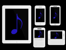 Mobile Devices Music Icons White Royalty Free Stock Photo