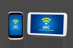 Mobile devices with NFC chip. Stock Images