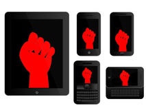Mobile Devices Protest Sign Black Royalty Free Stock Image