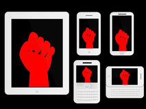 Mobile Devices Protest Sign White Royalty Free Stock Photos