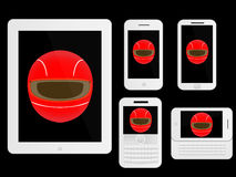 Mobile Devices Racing Helmet White Royalty Free Stock Photography