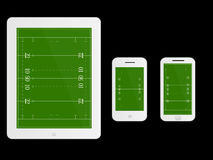 Mobile Devices Rugby Field White Royalty Free Stock Image